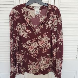 🌻 Burgundy Floral Buttoned Blouse